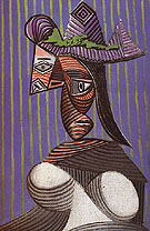 Bust of Woman Wearing a Striped Hat 1939 - Pablo Picasso reproduction oil painting