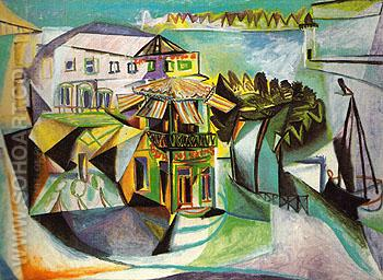 Cafe at Royan 1940 - Pablo Picasso reproduction oil painting