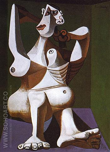 Nude Dressing Her Hair 1940 - Pablo Picasso reproduction oil painting