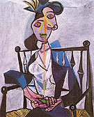 Seated Woman Dora Maar 1941 - Pablo Picasso reproduction oil painting