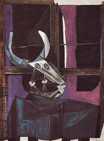 Still Life with Steers Skull 1942 - Pablo Picasso reproduction oil painting