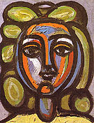 Head of a Woman with Green Curls 1946 - Pablo Picasso reproduction oil painting