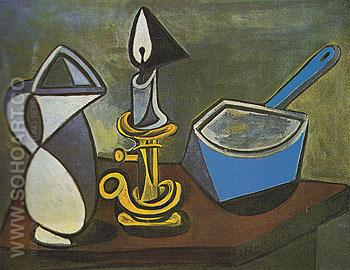 Pitcher Candle and Enamel Saucepan 1945 - Pablo Picasso reproduction oil painting