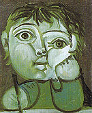 Claude Writing 1951 - Pablo Picasso reproduction oil painting