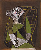Seated Woman with a Bun 1951 - Pablo Picasso reproduction oil painting