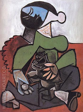 Seated Woman with Dog 1953 - Pablo Picasso reproduction oil painting
