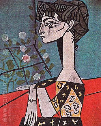 Portrait of Jacqueline Roque with Flowers 1954 - Pablo Picasso reproduction oil painting