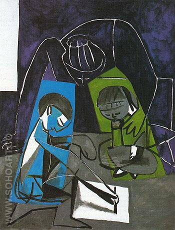 Claude Drawing Francoise and Paloma 1954 - Pablo Picasso reproduction oil painting