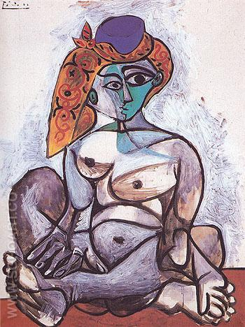 Female Nude in a Turkish Cap 1955 - Pablo Picasso reproduction oil painting