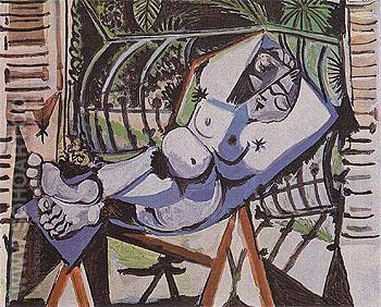 Nude in Front of the Garden 1956 - Pablo Picasso reproduction oil painting