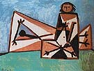 Man and Woman at the Beach 1956 - Pablo Picasso reproduction oil painting
