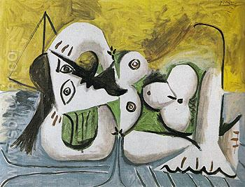 Reclining Nude on a Blue Divan 1960 - Pablo Picasso reproduction oil painting