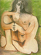 Seated Nude Against Green Background 1960 - Pablo Picasso reproduction oil painting
