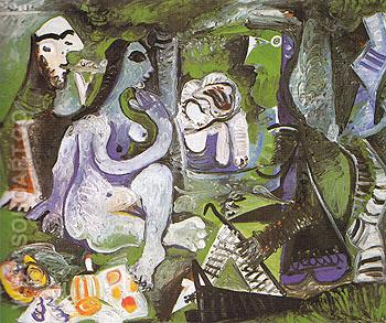 Le Dejeuner sur l'Herbe 1961 - Pablo Picasso reproduction oil painting