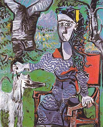 Woman and Dog Under a Tree 1962 - Pablo Picasso reproduction oil painting