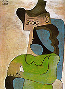 Seated Woman with Hat 1961 - Pablo Picasso reproduction oil painting