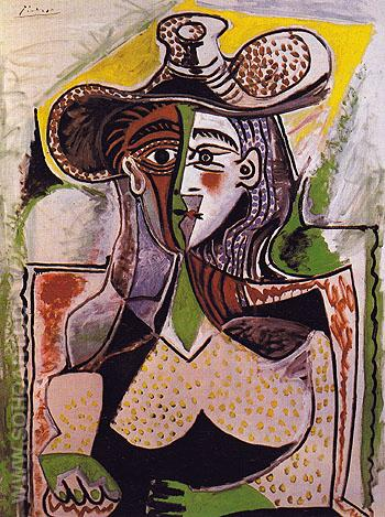 Woman with Big Hat 1962 - Pablo Picasso reproduction oil painting