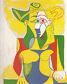 Seated Woman with Yellow and Green Hat 1962 - Pablo Picasso reproduction oil painting