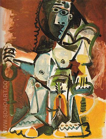 Seated Nude in an Armchair 1965 - Pablo Picasso reproduction oil painting