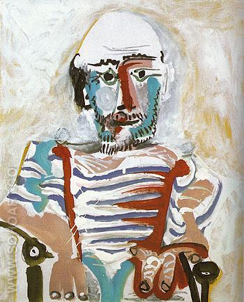 Seated Man Self Portrait 1965 - Pablo Picasso reproduction oil painting
