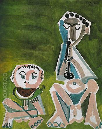 Flute Player and Watermelon Eater 1965 - Pablo Picasso reproduction oil painting