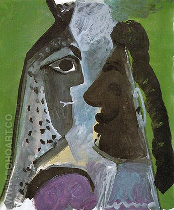Head of a Woman and Head of a man 1967 - Pablo Picasso reproduction oil painting