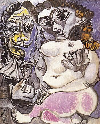 Nude Manand Woman 1967 - Pablo Picasso reproduction oil painting