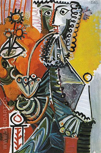 Musketeer with Pipe and Flowers 1968 - Pablo Picasso reproduction oil painting