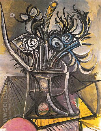 Vase of Flowers on a Table 1969 - Pablo Picasso reproduction oil painting