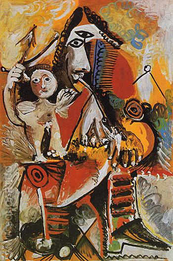 Masketeer and Cupid 1969 - Pablo Picasso reproduction oil painting