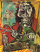 Seated Man with Sword and Flower 1969 - Pablo Picasso reproduction oil painting