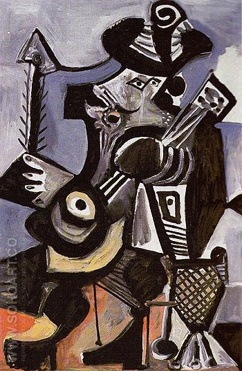 Musician with Guitar 1972 - Pablo Picasso reproduction oil painting