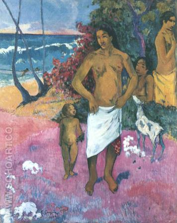 Famille Tahitian1902 - Paul Gauguin reproduction oil painting