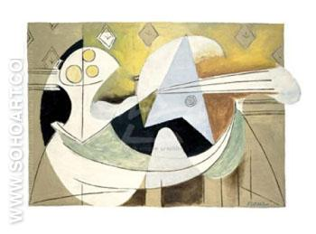 Fruit Bowl and Guitar 1927 - Pablo Picasso reproduction oil painting