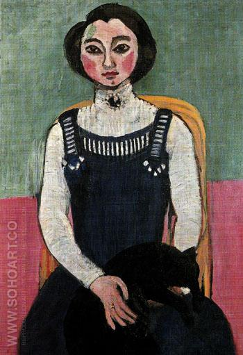 Marguerite with a Black Cat 1910 - Henri Matisse reproduction oil painting