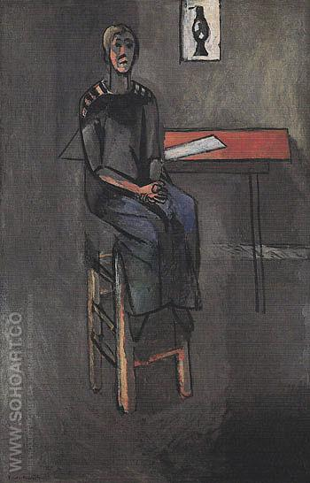 Woman on a High Stool Germaine Raynal 1914 - Henri Matisse reproduction oil painting