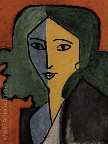 Madame L D Green Blue and Yellow Portrait 1947 - Henri Matisse reproduction oil painting