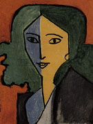 Madame L D Green Blue and Yellow Portrait 1947 - Henri Matisse