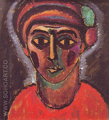 Head of an Adolescent Boy 1912 - Alexei von Jawlensky reproduction oil painting