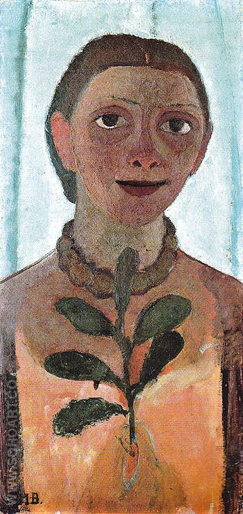 Self Portrait with Camelia Sprig c1906 - Paula Modersohn-Becker reproduction oil painting