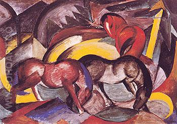 Three Horses 1912 - Franz Marc reproduction oil painting