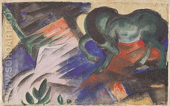 Green Horse 1912 - Franz Marc reproduction oil painting