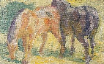 Small Picture of Horses 1909 - Franz Marc reproduction oil painting