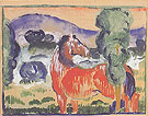 Red Horse in a Colored Landscape 1910 - Franz Marc reproduction oil painting