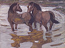 Two Horses at a Watering Place 1910 - Franz Marc reproduction oil painting