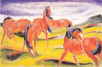 Grazing Horses III 1910 - Franz Marc reproduction oil painting