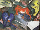 Red Horse and Blue Horse 1912 - Franz Marc reproduction oil painting
