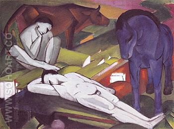 The Shepherds 1912 - Franz Marc reproduction oil painting
