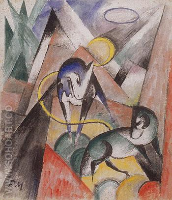 Landscape with Two Horses 1913 - Franz Marc reproduction oil painting