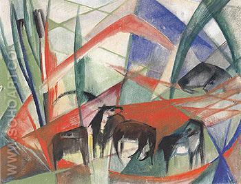 Landscape with Black Horses 1913 - Franz Marc reproduction oil painting